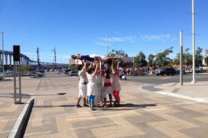 Trolley dancers united.
