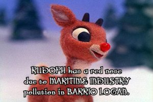 Rudolph got his red nose while delivering gifts to Barrio Logan youth.