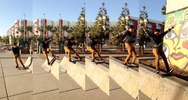 Brandon Raygoza lands his trick.