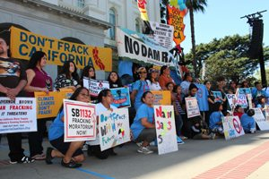Tribal representatives from throughout California converged at the Capitol to oppose fracking on March 15. Photo by Dan Bacher.