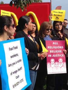 Fast food workers and supporters at a press conference in Barrio Logan.