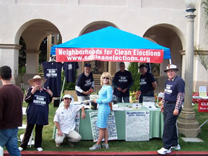 Supporters at San Diego's Earth Fair. Taken from sdcleanelections.org