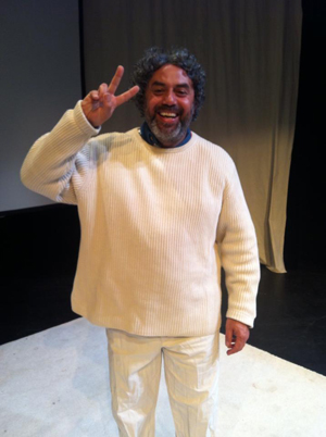 Herbert Siguenza as Abbie Hoffman at the May 30th staged reading pf Steal Heaven.