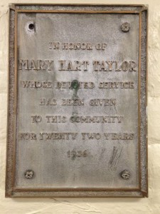 mary hart taylor plaque