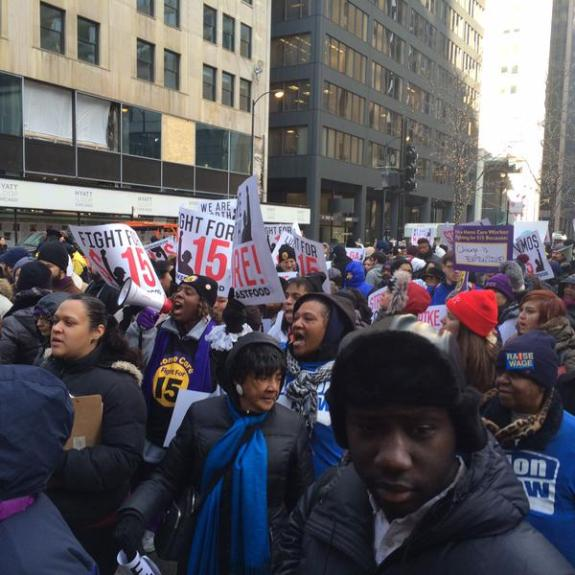 Fast Food Workers protest in Chicago