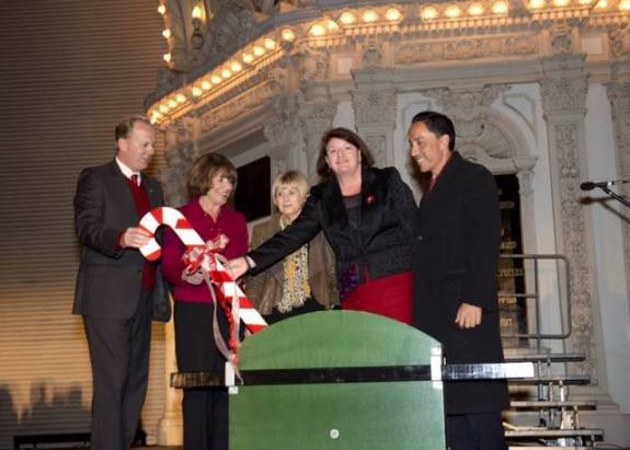 Kevin Faulconer, Toni Atkins and Todd Gloria at December Nights. (Via Facebook)