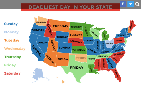 Map of deadliest gun violence day of week by state