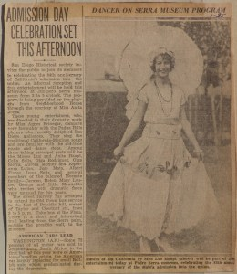 Newspaper clipping on Neighborhood House dancers for 84th anniversary of Admission Day at Junipera Serra museum