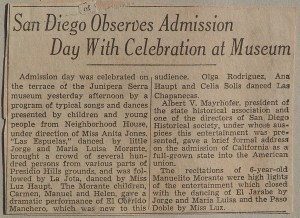 Newspaper clipping of Neighborhood House dancers celebrating Admission Day at the Junipero Serra Museum