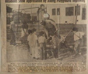 Newspaper clipping: Neighborhood house fathers help rebuild playgound