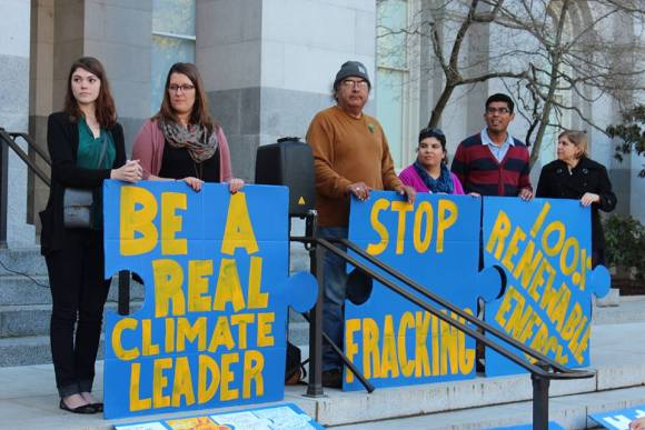Californians Against Fracking press conference at the State Capitol in Sacramento on January 29