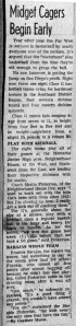 Newspaper clipping on the Neighborhood House basketball team, coach Pinkerton, and Frankie Barajas