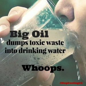 Photo of person drinking glass of water that has been contaminated by Big Oil's toxic waste