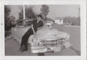 Tati and a 1940s Cadillac