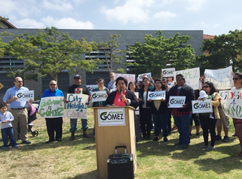 Georgette Gomez announces her candidacy for Distict 9's City Council seat.
