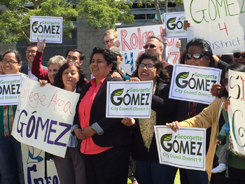 Georgette Gomez amongst her supporters in City Heights.