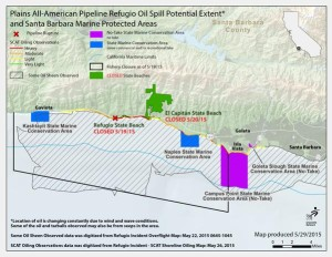 Map of Plains All-American Pipeline Refugio Oil Spill Potential Extent and Santa Barbara Marine Protected Areas