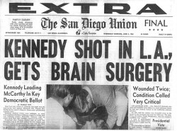 Robert Kennedy assasination San Diego Union headline