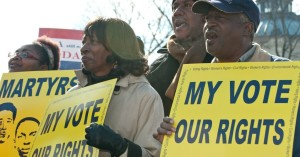 Scene from a rally in front of the Supreme Court where justices were hearing cases on the Voting Rights Act