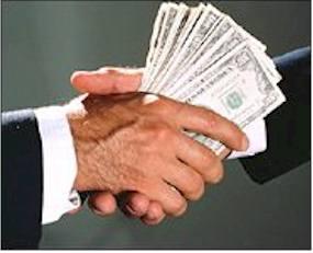 handshake with cash