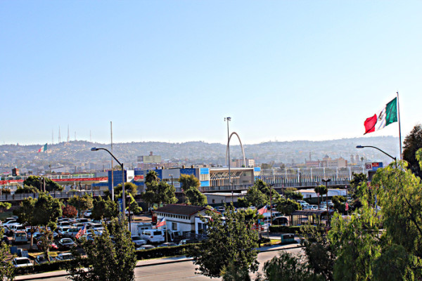 View into downtown Tijuana from the U.S. side