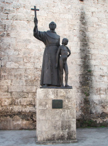 Monument of Junípero Serra (with Juaneño Indian boy) on plaza de San Francisco de Asis in Havana