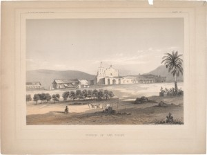 Idealized 19th-century depiction of San Diego Mission
