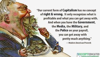 greedy capitalist eating money