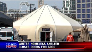 homeless tent closed