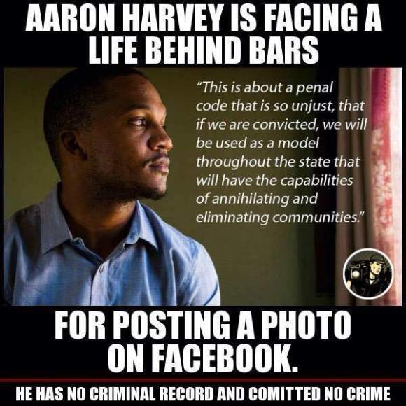 Facebook meme produced while Aaron Harvey was still facing charges