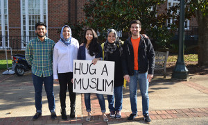 University of Virginia students counter Islamophobia with hugs. Photo courtesy of Muskan Mumtaz.