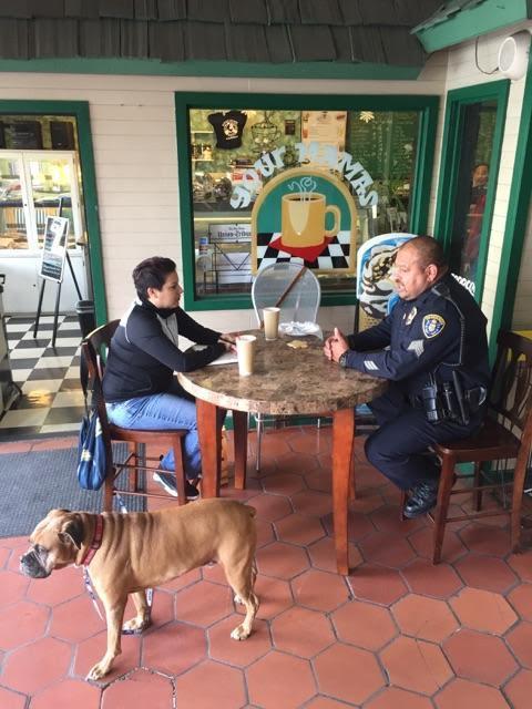 Author Sanchez interviewing Officer Sergeant Hurtado at Mama's Mug