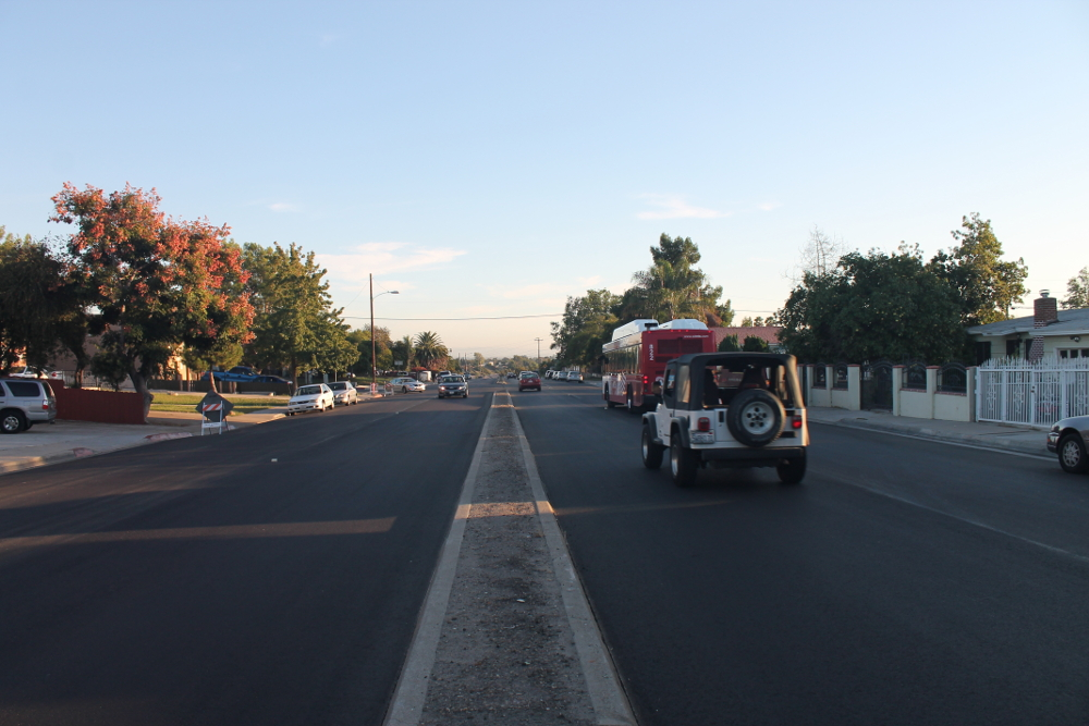 Stretch of Fairmount Avenue during road diet restriping project