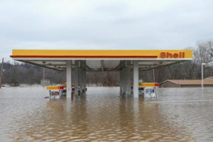 flooded gas station