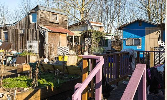 Dignity Village housing structures built mainly from recycled material by residents. Photo: Paul Dunn