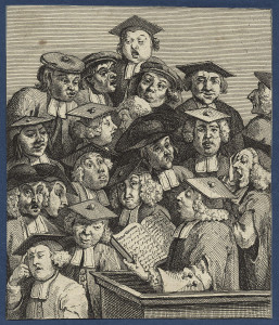 Hogarth engraving: Scholars at Lecture