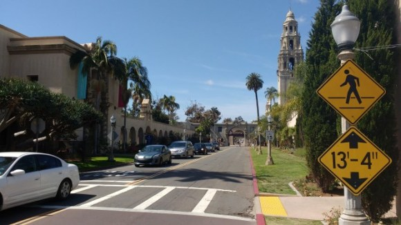 Balboa Park view along Laurel Street entrance promenade