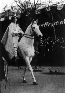 Wearing a cape and crown, suffragist activist Inez Milholland Boissevain led the 1913 women's suffrage parade in Washington on a white horse.