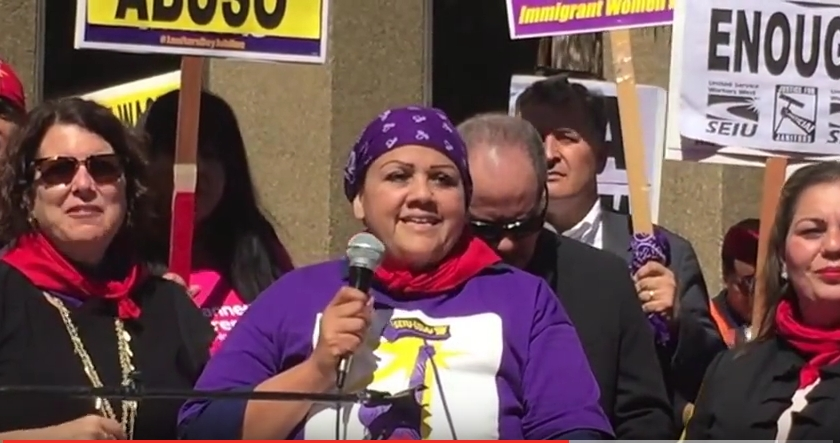 Screen shot of video of Justice for Janitors rally, March 8 2016