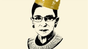 Black and white headshot of Ruth Bader Ginzburg with frill collar; gold crown on head