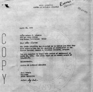 Click for larger image; letter hiring Arturo Casares, Barrio Station