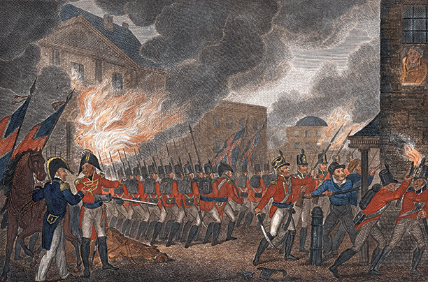 Engraving of Washington in flames, 1814