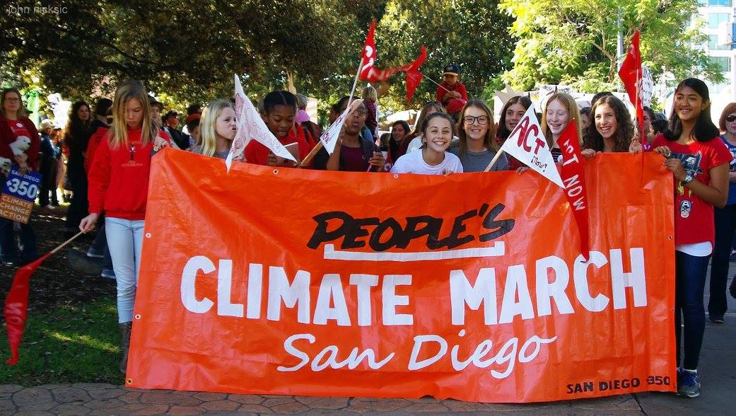 Group of youths holding SanDiego350 banner: People's Climate March San Diego