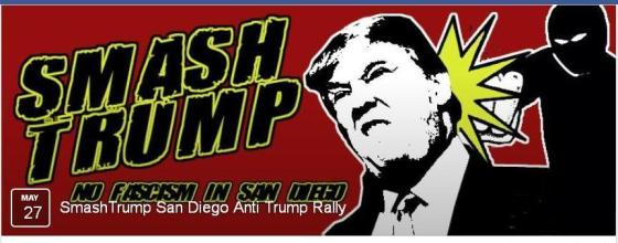 Smash Trump Facebook banner with slogan SMASH TRUMP / NO FASCISM IN SAN DIEGO