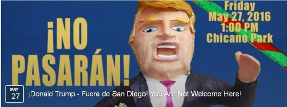 Unión del Barrio Facebook banner for anti-Trump rally with motto ¡No Pasarán! and image of Trump piñata