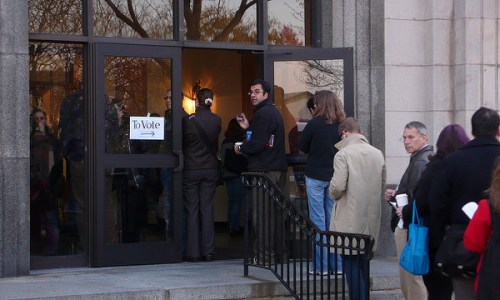 People lined up to enter building to vote