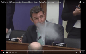 Duncan Hunter Vapes While Opponents Organize