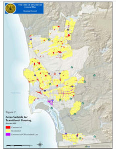 "City of San Diego map showing ""Areas suitable for Transitional Housing"""
