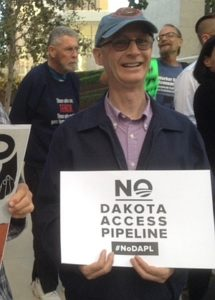 Mark Hughes at rally against Dakota Access Pipeline