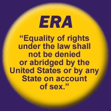 Button with text of the Equal Rights Amendment